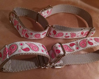 """Pink and Silver Paisley 1"""" Width Adjustable Martingale Dog Collar"""