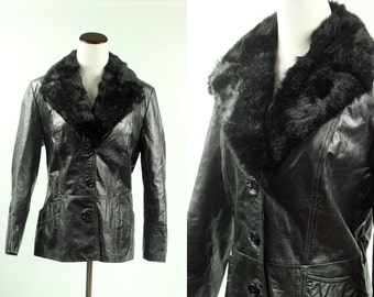 1970's Black Leather Jacket w/ Faux Fur Collar