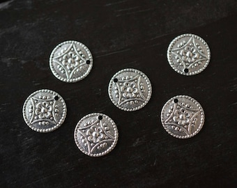 Small Round Circle Silver Charms Pendants, 6pcs, Made in the USA