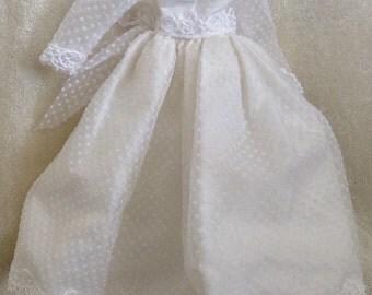 Beautiful White Dotted Swiss Doll Dress