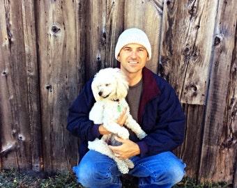 Wool watchcap - Mens wool hat - white - winter snow hat - wool beanie - knit hat with brim - sale - winter hat - wool toque - guy gift idea