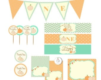 Little Pumpkin First Birthday Party Packet Kit- First birthday printables, sweet pumpkin, first birthday-INSTANT DOWNLOAD