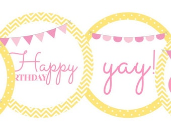 Happy Birthday First Birthday Yellow and Pink- one, happy birthday, yay!- INSTANT DOWNLOAD