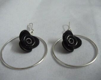 Black lotus hoop earring
