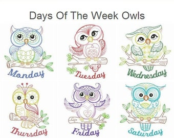 Days Of The Week Owls Machine Embroidery Designs Pack Instant Download 4x4 5x5 6x6 hoop 7 designs SHE5151