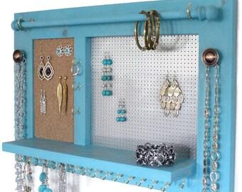 Jewelry Display Wooden Earring Organizer Wall Mount Black |Wooden Wall Jewelry Organizer