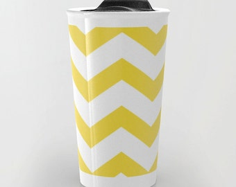 Yellow Chevron Travel Mug - Ceramic Travel Mug With Lid - Gift For Women - Aldari Home