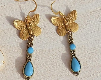 Long Butterfly Dangle Earrings