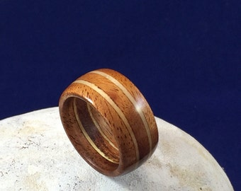 wood ring, Mahogany and Pine solid wood ring, wood wedding ring, wooden ring, wood grain ring, 5 year anniversary gift, anniversary ring