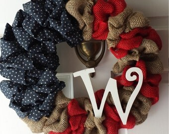 Flag Wreath, Patriotic Wreath, Burlap Wreath, USA Wreath