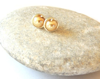 Gold Glass Pearl Wire Wrapped Stud Earrings | Stud Earrings | Silver Plated Studs | Mothers Day Gift | Valentines Day Gift