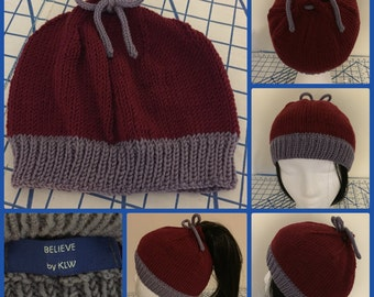 Original Curly Hair/2Way Hat in Cranberry & Lavender