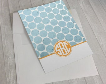 Personalized Custom Monogram Polka Dot Stationary Flat Notecards -  Set of 25