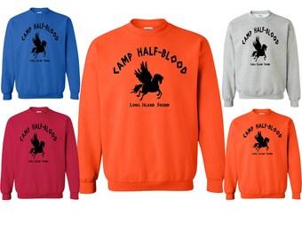 Camp Half-Blood Sweatshirt Crewneck Demi-God Long Island Sound Crewneck Sweatshirt Super Design S - 3XL Sweater