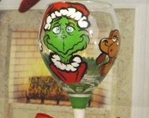 Hand painted Grinch and Max Wine glass, Christmas glass, Grinch decoration. 20 oz wine glass. Hand painted glass