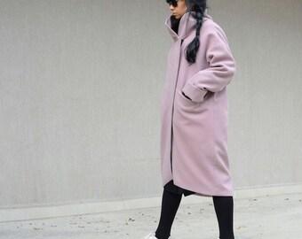 Women's pink(purple) coat, asymmetrical long women's outerwear, high neck collar party coat, fashion clothing for oversized women, plus size