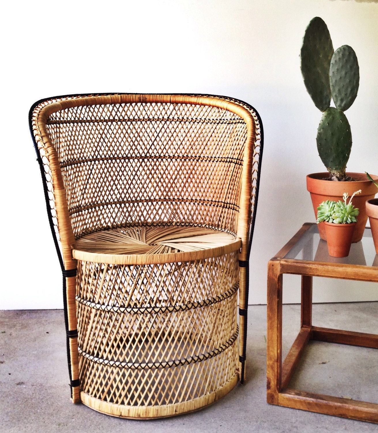 Etsy Vintage Bamboo Furniture: Vintage Wicker Chair Boho Seating Peacock Pedestal