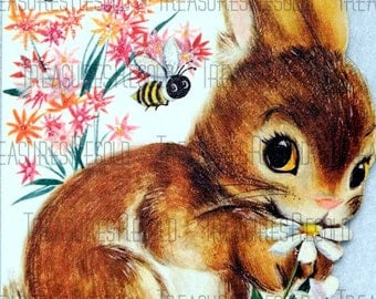 Spring Bunny In Flowers Bumble Bee Easter Card #91 Digital Download