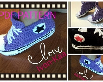 Crochet pattern WOMAN inspired by converse style shoes PDF pattern, tennis shoes, sport shoes, 6 SIZES, Instant download