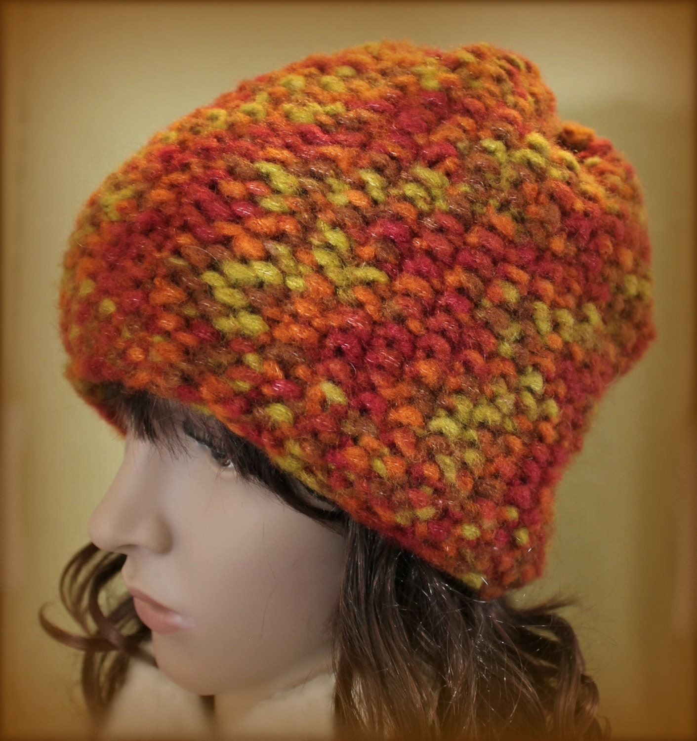Easy Loom Knitting Hat Patterns : Loom Knit Brimless Hat Easy PATTERN Seed Stitch Beanie