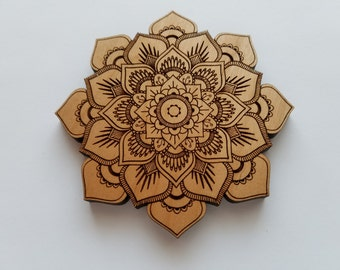 Laser Cut Alder Wood Mandala Lotus Flower Home Decor  ( Wall Decor, Accent Piece, House Warming Gift)