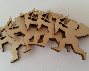Small Wooden Valentines Day Love Cupid Cut Outs