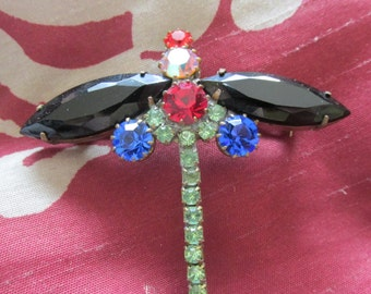 Dragonfly Glass and Rhinestone Brooch Striking Colors