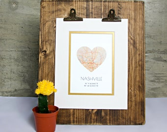 Custom map gifts etsy nashville heart map art city heart map tennessee state art custom city art negle Choice Image