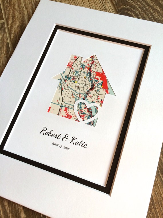 Personalized Home Map Matted Gift First Home Gift New House