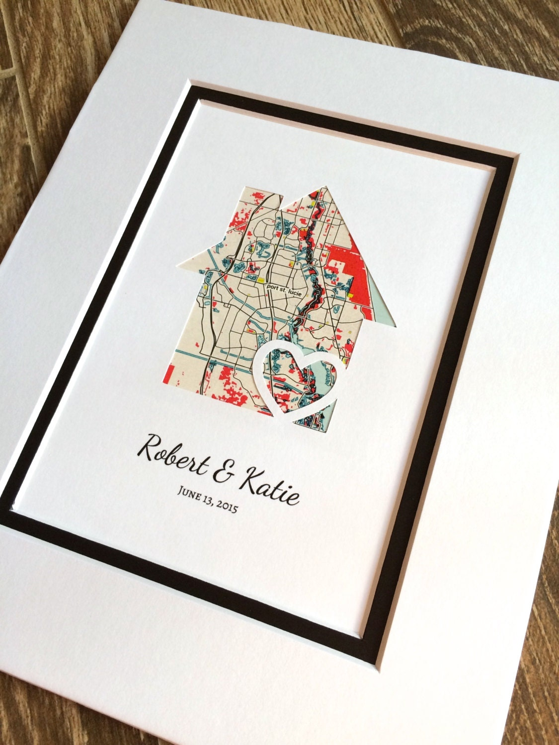 Personalized home map matted gift first home gift new house for Diy monogram gifts