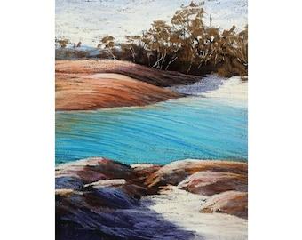 Vibrant pastel painting on sanded paper. Impressionist rocks, sea , beach. Seascape painting. Nature painting. landscape painting.