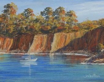 Seascape pastel painting on sanded paper. Impressionist  painting. Landscape painting. Fine art  painting,  Beach painting.