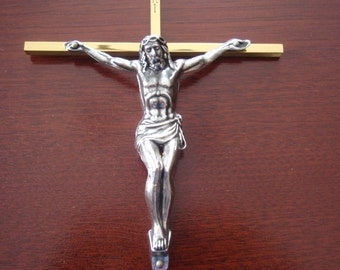 Brass Cross Crucifix Wall Hanging Jesus Christ Religious Catholic Collectible Religion B10
