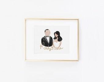 Simple Custom Couple Illustration Wedding Gift Idea
