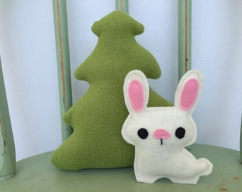Handmade Evergreen Tree and Bunny Rabbit, Set of Two, Toy, Plushie