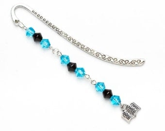 Beaded Bookmark with Silver Book Charm