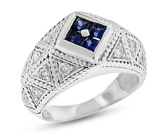 1.25 Ct. Vintage Inspired Diamond & Sapphire Fashion Filigree Ring Solid 18k White Gold