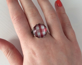 Antique red & white gingham statement ring