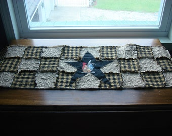 Primitive TABLE Runner--Homespun--Embroidered Rooster