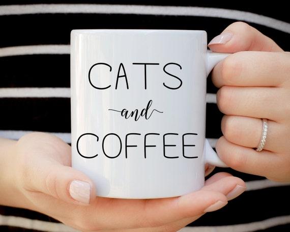 Cats and Coffee Mug, Crazy Cat Lady, Cat Lover Present, Cat Mug, Cat Gift, Cat Christmas Gift, Coffee Lover, Animal Mug, Ceramic Mug