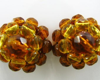 Western Germany Earrings Vintage Crystal Bead Cluster Clip On