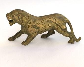 Vintage Brass Leopard Cougar Panther  Tiger Figurine Decor