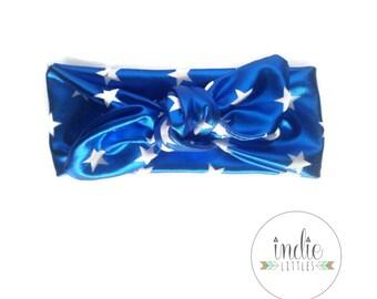 Blue Shiny Starred Headwrap  / Knotted headband headwraps / Baby Newborn Kids Girls Women Adult headbands / Patriotic headband / americana
