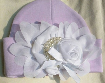 Baby hat Beanie. Lavender Hat! Pretty Flower and Pearls. Great Gift. Perfect Going Home Hat!  Fits 0-6 Months. Great Photo Prop. Adorable!