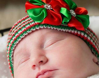 HOLIDAY Babies! Newborn CHRISTMAS Red/Green/White Stripe Holiday Hospital Hat with Green and Red Flower Trio and Rhinestones!