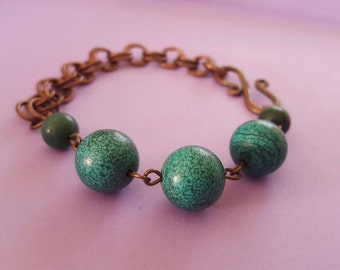 Green and Copper Bracelet, Green Magnesite Bracelet, Copper Chain Bracelet
