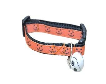 Pumpkin Face Halloween Black Orange Cat Kitten Puppy Collar Scary Faces Pumpkin Faces Small Dog Collar Scary Kitten Collar
