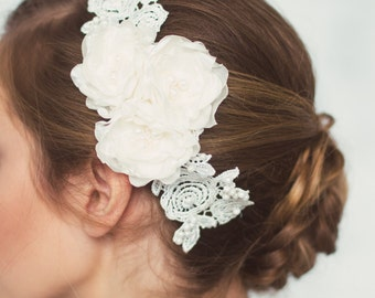 Lace Wedding Hair Flowers,  Ivory Bridal Headpiece, Wedding Hair Accessories, Ivory Lace Bridal Hair Piece, edding Hair Accessories