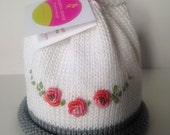 Rose Spray Hand Knit Newborn Baby Hat Colorful Crowns