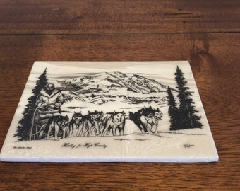 The Alaska Mint/Heading for High Country/1981 Bill Devine/Bill Devine Artist/Alaska Mint Bill Devine/Collectible Trivets/Collectible Coaster
